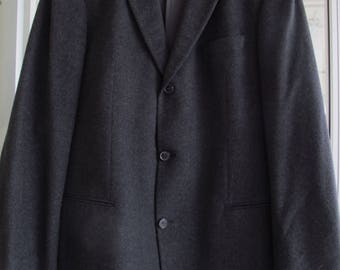 Hugo Boss Cashmere Blazer Size 44L Charcoal Grey 3 Button Front Jacket Guabello Wool
