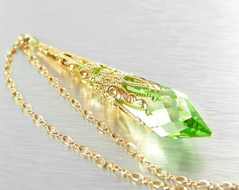 Swarovski Crystal Peridot Necklace, August Birthstone, Green Crystal Necklace, Gold Necklace, Peridot Pendant Necklace, Victorian Jewelry