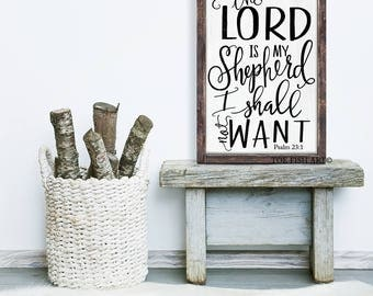 The Lords is My Shepherd  Sign|  Psalm 23 :1 | Wood Sign|  Bible verse |Scripture Art |typography | Inspiration | Gallery Wall | Farmhouse