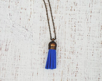 Essential Oil Diffuser Tassel Necklace | Blue Tassel Necklace | Vegan Suede Jewelry | Aromatherapy Necklace | Short Tassel Necklace