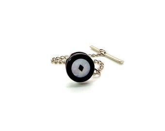 Black and White Mother of Pearl and Onyx Tie Tac – Diamond Circle Square Design MOP and Onyx Tie Tac – Black and White Tie Tack