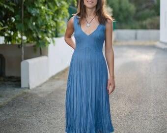 Linen/Blue Dress/Blue Summer/Denim Blue/Midi/Sundress/Beach Wedding