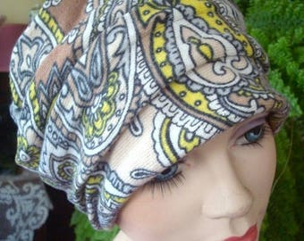 womens hat soft cotton chemo hat paisley beige yellow ooak