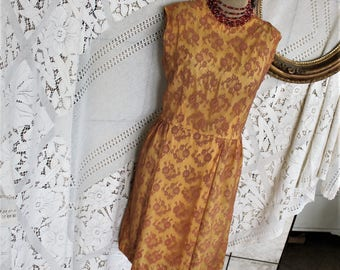 1950s Rust Lace over Gold Satin Wiggle Dress