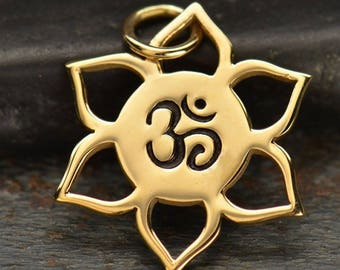 Lotus Charm with Om Center