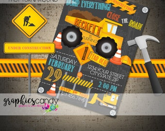 Construction Invitation - Dump Truck - Building Site, Machinery, Roadworks - Printable - DIY - Digital Fil  - CUSTOMISED