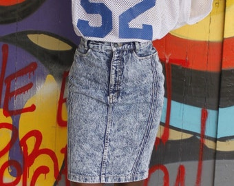 Acid Wash Pencil Skirt | 90s vintage denim ultra high waist slim fit club kid hipster jeans skinny skirt with cpokets XS S extra small