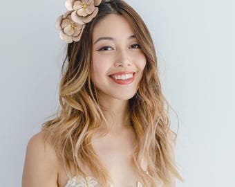Rose gold Leather Flower Crown Fascinator // flower crown headband / metallic flower fascinator / leather spring racing races fascinator