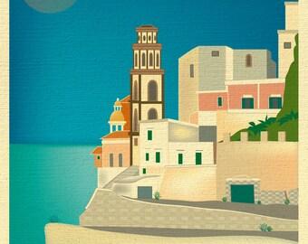 Amalfi Coast Print, Positano Italy, Amalfi Coast Poster, Italian Wall Art, Amalfi Italy Retro Travel Art, European Art - style E8-O-AMA