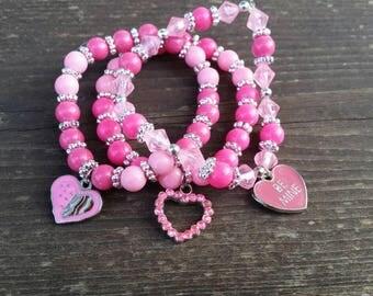 Pink Beaded Charm Bracelets - Valentine's Day Gift Ideas - Conversation Heart Be Mine - Rhinestone Heart Charm