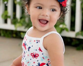 Baby Girl Flower Headband/Patriotic Baby Headbands/Infant Headbands/Toddler Headbands/1st Birthday Navy Blue Headband/Shabby Chic Headband