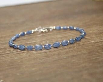 Blue Sapphire Bracelet, Sapphire Jewelry, Faceted Beads, September Birthstone, Something Blue, Gemstone Bracelet