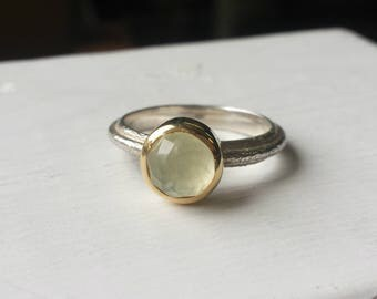 Rose Cut Green Phrenite Rustic Ring - Recycled Gold and Silver, 14kt, Textured, Organic, Bezel, Mixed Metal, Rough Silver, Statement Ring