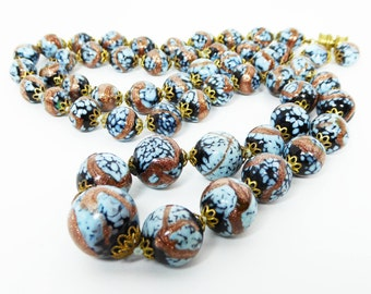Venetian Glass Bead Necklace  - Copper Glitter, Pastel Blue, Black Beaded - Art Glass Round Ball Beads - Vintage 1960s 1970s Italian Beads