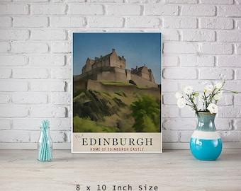 Scotland Art 8x10 Art Print Poster Edinburgh Castle Print Retro Travel Poster Original Art Design Scottish Wall Art