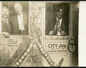 Men in CITY JUG JAIL With Animated Guard in Novelty Arcade Studio Photo Postcard circa 1910