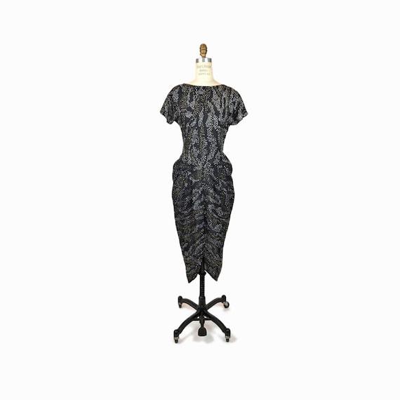 Vintage 80s Glam Rhinestone Party Dress / Little Black Dress / Black Sparkle Dress - women's small/medium