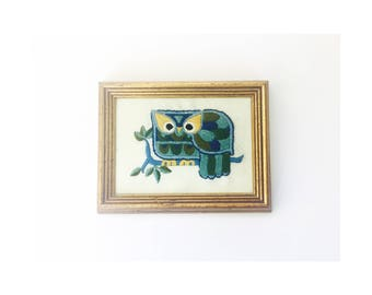 Vintage Colorful Owl Needlepoint Wall Hanging
