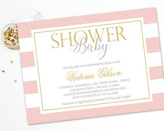 Pink and Gold Stripe Baby Shower Invitation, Gold Glitter, Girl Baby Shower, Personalized, Printable or Printed