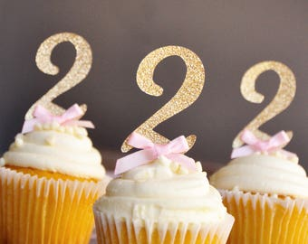 Pink and Gold Birthday Decorations. Handcrafted in 2-5 Business Days.  Glitter Gold Number Cupcake Toppers 12CT.
