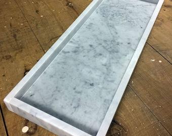 Marble tray / platter - Carrara - Large - 40cm x 15cm x 3cm