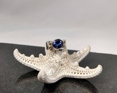 Elizabethe's Custom Designed Blue Sapphire Ring with 14 K. Gold Ball Accents