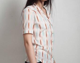 vintage 70s collared shirt button down short sleeve summer stripes pink blue MEDIUM M