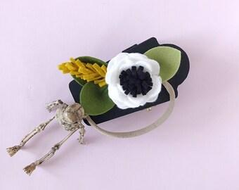 Single Flower Headband or Alligator Clip // Jack Skellington, Fall Carnation Felt Flower