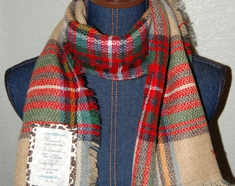 Scripture Scarf - Oblong - Khaki, red, green, blue, cream, and yellow plaid