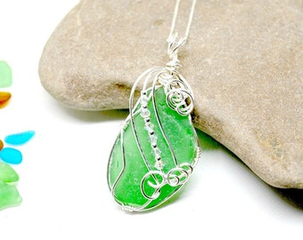 Sea Glass Jewelry, Sea Glass Gift, Wire Wrapped Sea Glass, Mothers Day Gift, Sea Glass Etsy, Seaglass Jewelry, Lake Erie Beach Jewelry