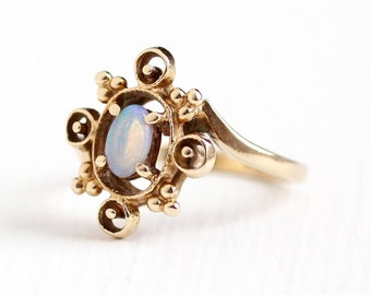 Vintage 10k Rosy Yellow Gold Jelly Opal Gemstone Ring - Retro 1960s Size 3 1/2 Oval October Water Opal Birthstone Gem Cabochon Fine Jewelry
