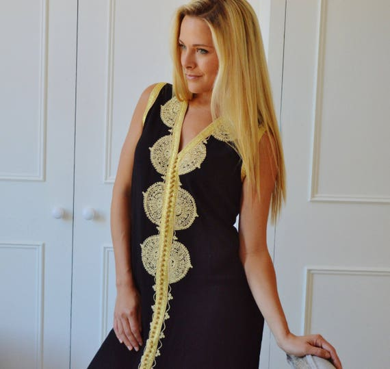 Autumn Dress 25% OFF SALE Autumn Dress Black  Non-Sleeve Caftan Kaftan Maxi Dress - beach wear, lounge wear, resort wear, moroccan kaftan, w
