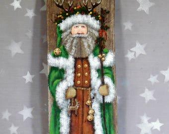 "Holly King, Yule Santa Claus on Ozarks barnwood, large original hand painted art, 5 1/2"" x 16"""