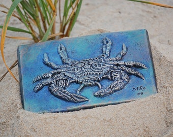 Crab Ocean Art Sculpture, Beach Decor, Garden Stone Art Wall Plaque, Maryland Blue Crab Tile