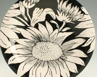 "Sunflowers, Black and White Plate 8"", Lunch, Dessert, Salad Plate, Ceramic Pottery Plate, Sunflower Designs, Ceramic Dinnerware"