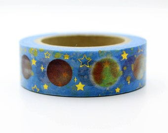 Planet with Stars Foil Tape Craft Supplies Planner Stickers Erin Condren Scrapbooking Christmas Decorative Tape Love My Tapes