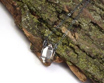 Genuine Herkimer Diamond Necklace - Herkimer Diamond Jewelry - Raw Herkimer Crystal Cage Necklace - Herkimer Jewelry - Large Crystal P