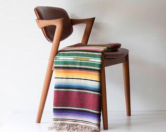 Vintage Saltillo Mexican Blanket Serape - Mid Century