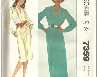1980s Day or Evening Pull Over Dress V Neck Long Sleeves McCall's 7359 Uncut FF Size 16 Bust 38 Women's Vintage Sewing Pattern