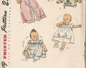 1940s Infant's Wrapper Saque Cap Dress Transfer One Size Simplicity 1950 Vintage Layette Pattern Vintage Infant Pattern Sewing Pattern