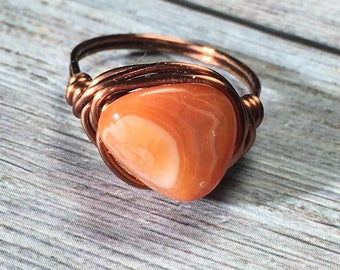Orange Carnelian Agate stone antique copper wire wrapped ring - size 6 1/2 - gemstone nugget natural women men girl handmade jewelry rustic