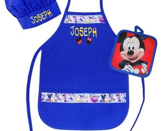 Personalized Child's Size Apron Mickey Mouse Clubhouse Royal Blue