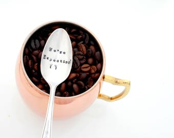 We're Expecting, Baby Announcement Spoon. Baby Reveal Hand Stamped Teaspoon. The ORIGINAL Hand Stamped Vintage Coffee & Espresso Spoons™
