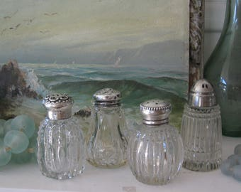 Vintage cut crystal, sterling silver salt and pepper shakers, set of 4, Shabby Chic, farmhouse decor