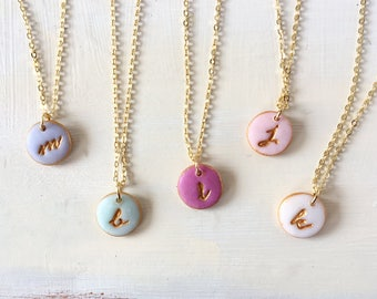 Color Bridesmaid Necklace, Letter Charm, Matching Bridesmaid Jewelry, Mismatched, Simple, Romantic Boho Bride and Wedding Party Gift