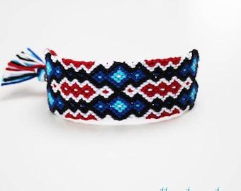 Wide friendship bracelet - Large cuff Boho macramé bangle geometric ripple pattern design symmetrical dark red blue white black