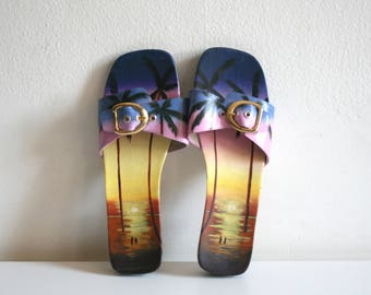 Hand Painted Via Blue Via Sunset Sandals