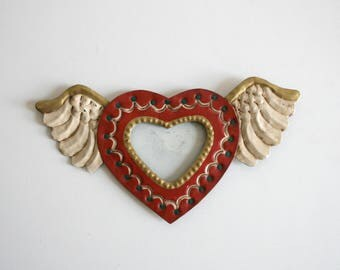 Hammered Tin Mexican Winged Heart Frame