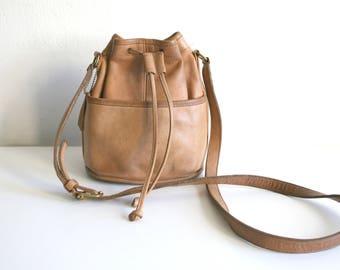 Tan Coach Bucket Bag