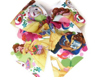 "Beauty and the Beast Girls 7"" Hair Bow Belle beast chip pink sparkle big bow clip"